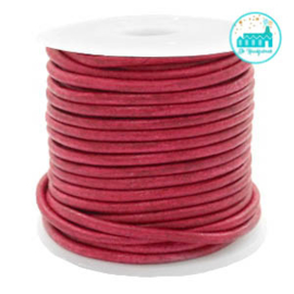 Round Leather String 2 mm Vintage Red