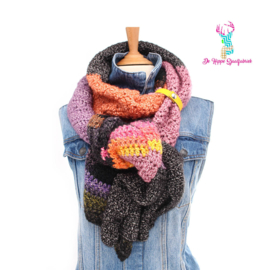 Autumn-colored Scarf with Yellow Scarf Loop
