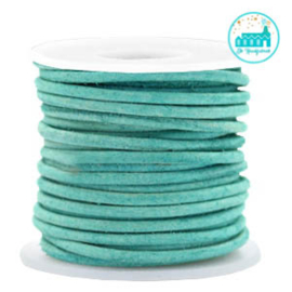 Round Leather String 2 mm Turquoise Green