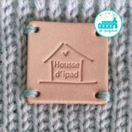 Vierkant Leren Label Housse d'ipad  groot 3,5 cm x 3,5 cm