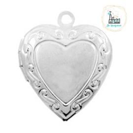 Metalen bedel medaillon hart Zilverkleurig ca. 22x19mm