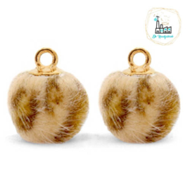 Pompom bedels met oog faux fur leopard 12mm Camel brown-gold