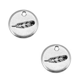 Metalen label rond veertje zilverkleurig 12mm