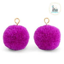 Pompom bedels met oog 15mm Violet purple-gold