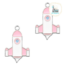 bedels raket Zilver-wit roze 23 x 15 MM