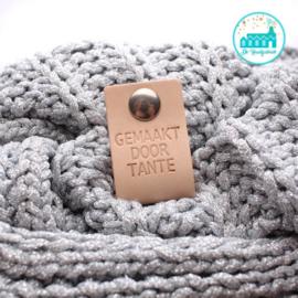 Big Labels with Push-Button Naturel 10 cm x 3 cm 'Gemaakt door Tante'