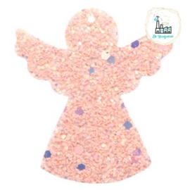 Imi leer hangers engel met glitters Pink 5 CM