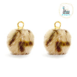POMPOM BEDELS FAUX FUR LEOPARD LIGHT BROWN 12MM