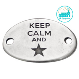 Metalen label Keep Calm and ster  zilverkleurig  29mm x 20mm