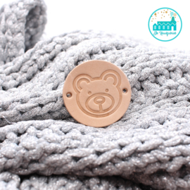 Round leather Label 3,5 cm 'Bear'