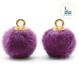 Pompom bedels met oog faux fur 12mm Purple-gold