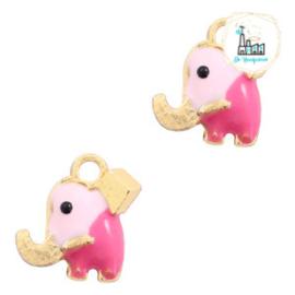 bedels olifantje Goud-roze 10 x 9 MM