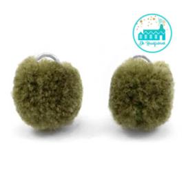Mini Pompons 15 mm Donker Olijf