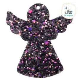 Imi leer hangers engel met glitters Black-purple 5 CM