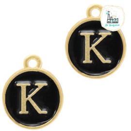 Metalen bedels letter K Goud-zwart ca. 14x12mm