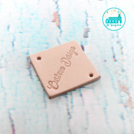 Vierkant Leren Label met tekst Custom Design 3,5 cm x 3,5 cm