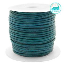 Leren Koord rond  1 mm Dark Turquoise