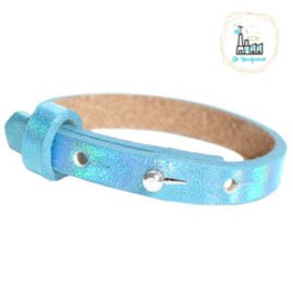 Cuoio armband leer kids 8mm Holographic Blue