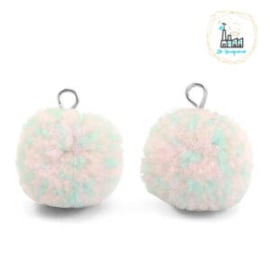 POMPOM BEDELS MET OOG 15MM MIX TURQUOISE LIGHT PINK-SILVER