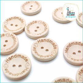 Wooden Button 25 mm 'Handmade with heart)'