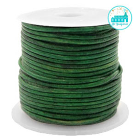 Round Leather String 1 mm Vintage Green