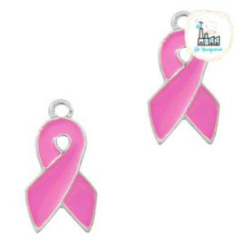 bedels ribbon Zilver-pink 18 x 10 MM