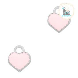 bedels hart Zilver-Pink 9 x 8 MM
