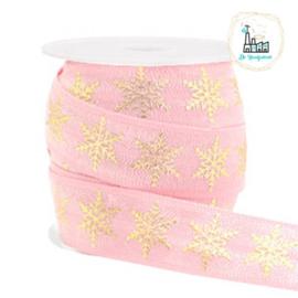 Elastisch lint snowflake Light pink