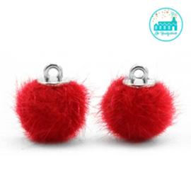 Mini Pompons Faux Fur 12 mm Rood