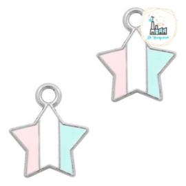 bedels ster Zilver-Light blue white pink 14 x12  MM