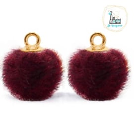 Pompom bedels met oog faux fur 12mm Port purple red-gold