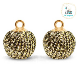 POMPOM BEDELS GLITTER ANTRACIET GOLD 12MM