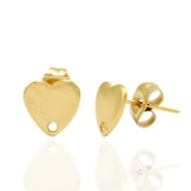 Roestvrij stalen (RVS) Stainless steel oorbellen/oorstekers hartje met oogje Goud