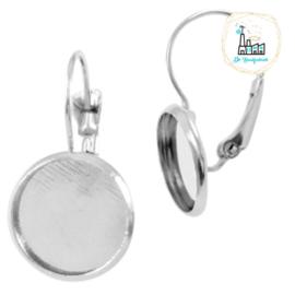 Metalen oorhanger voor stipsteentjes 12mm Zilver