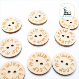 25 mm Platte Houten Knoopjes Keep Me Warm Design De Haakfabriek