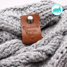 Big Labels with Push-Button  Cognac 10 cm x 3 cm 'Handmade Just for You'