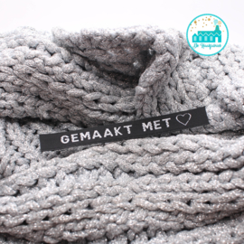 Ironing Label 'Gemaakt met (lover)' black with silver