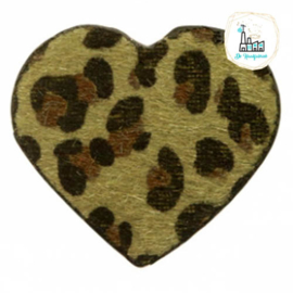 Hairy imi leer hangers hart met leopardprint Olive Green 56x50mm