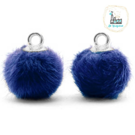 Pompom bedels met oog faux fur 12mm Denim blue-silver