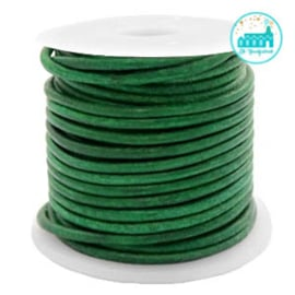 Round Leather String 2 mm Vintage Green