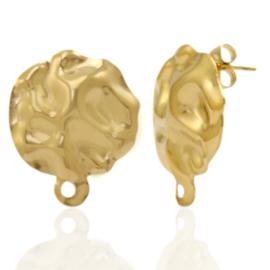 Roestvrij stalen (RVS) Stainless steel oorbellen/oorstekers gehamerd met oogje Goud