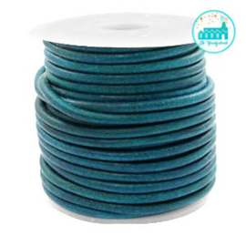 Round Leather String 3 mm Vintage Turquoise Green