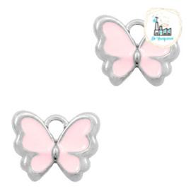 bedels vlinder Zilver-Pink 13 x 10 MM