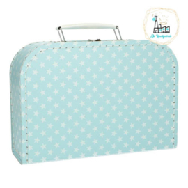 Kinderkoffertje Licht Blauw met sterretjes 25 cm