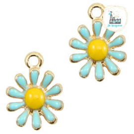 Daisy Charm 15 mmx 11 mm blue  yellow