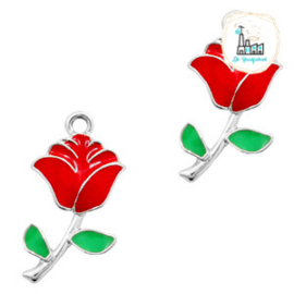 bedels roos Zilver-rood groen 23 x 12 MM