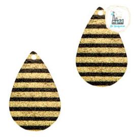 Metalen bedel druppel 1 oog stripes Black-gold