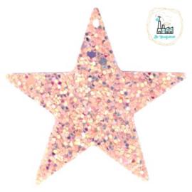Imi leer hangers ster met glitters Vintage PINK 5 CM
