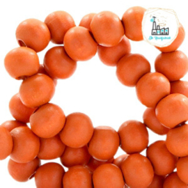 Houten kralen rond 8 mm Fire orange