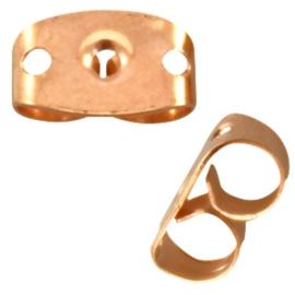 Metalen DQ oorbel stoppers Rosé Goud (nikkelvrij) PST